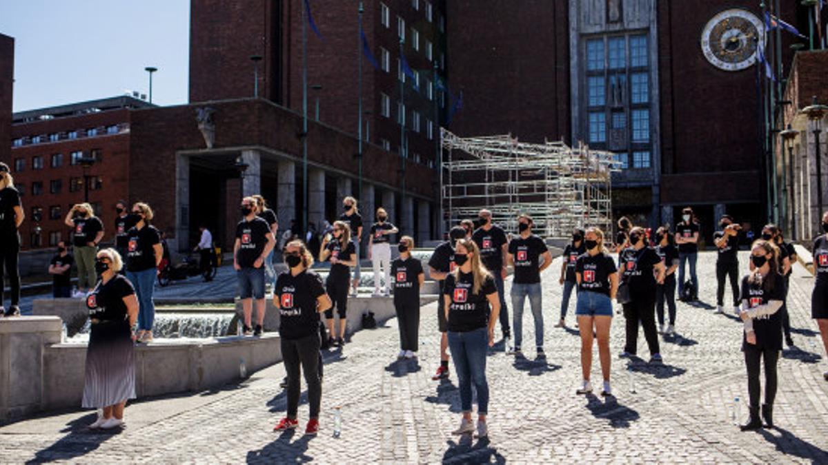 Trabajadores  en huelga en Noruega