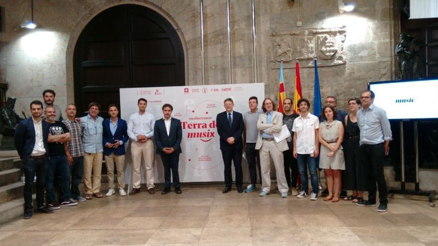Presentación de la marca 'mediterranew musix' en el Palau de la Generalitat