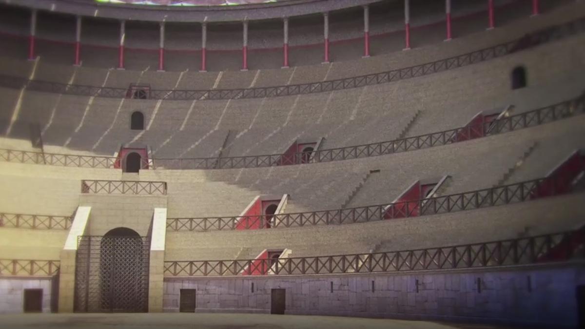 Recreación de cómo sería el anfiteatro de Itálica en su momento de mayor esplendor.