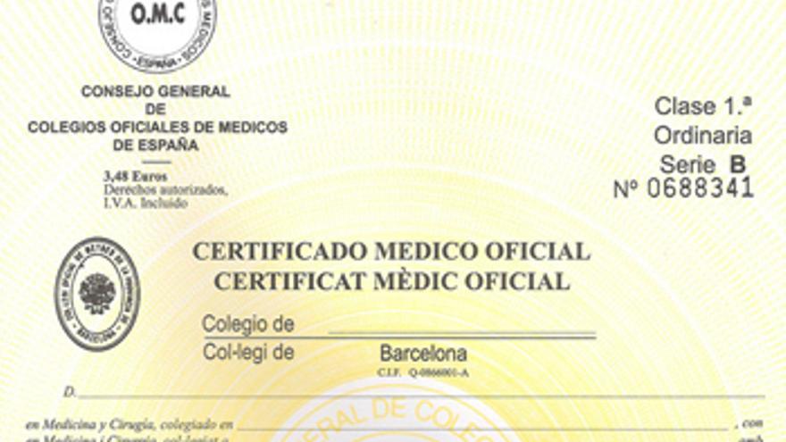 Imagen de un certificado médico oficial.