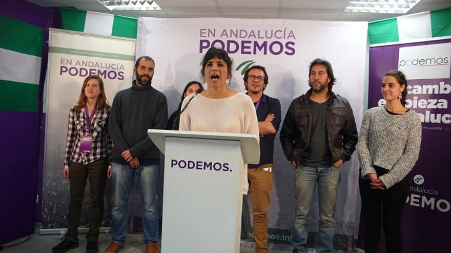 Teresa Rodríguez, en su comparecencia en Cádiz.
