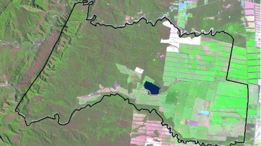 Situación de la finca de La Moraleja en septiembre de 2008 sobre imagen del satélite Landsat 5 TM (16/09/2008 )