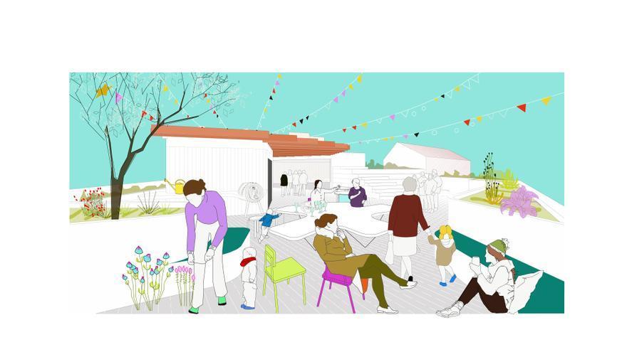 Boceto de cómo será la cubierta del edificio, donde estará el mayor espacio común. / Entrepatios