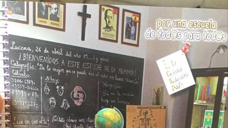 Portada de la agenda escolar de Lucena con la imagen de Francisco Franco.