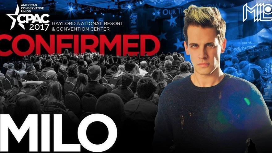 Milo Yiannopoulos, en el cartel de la charla que le han cancelado
