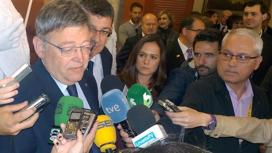 El president de la Generalitat, Ximo Puig, atiende a los medios