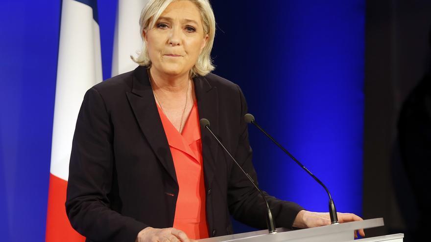 Marine Le Pen en un momento de su discurso tras conocer su derrota