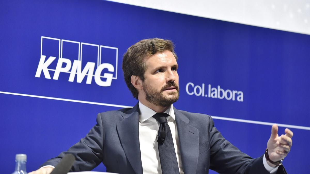 El líder del PP, Pablo Casado, ha respondido preguntas de los empresarios catalanes