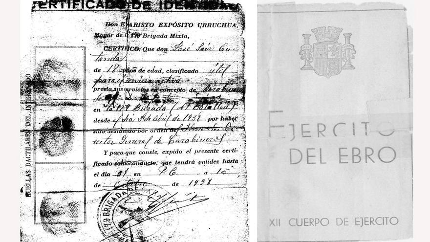 Certificado de identidad de José Sáez Cutanda en el Ejército del Ebro