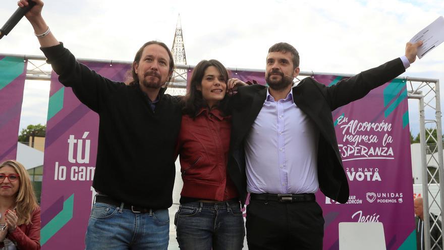 Pablo Iglesias, Isa Serra y Jesús Santos, en el acto central de Unidas Podemos en Madrid.
