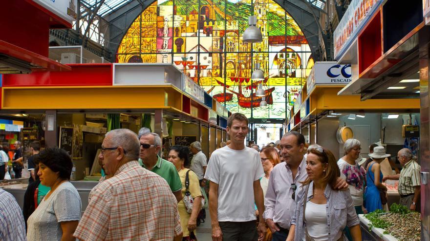 Vidrieras del mercado de las Atarazanas de Málaga.