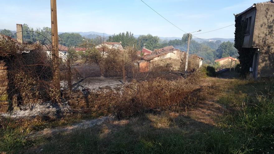 Efectos del incendio de Monforte, cerca de las casas