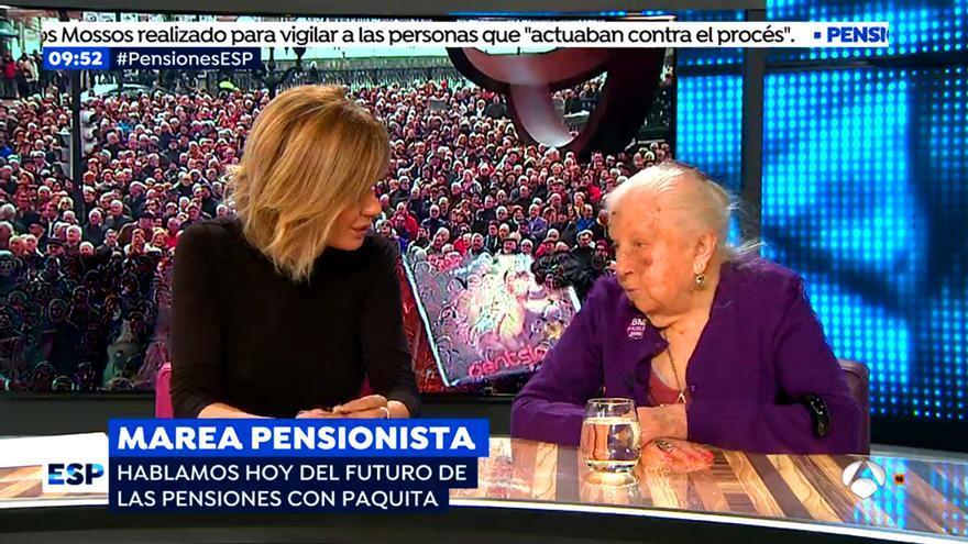 Susanna Griso entrevista a Paquita en Espejo Público