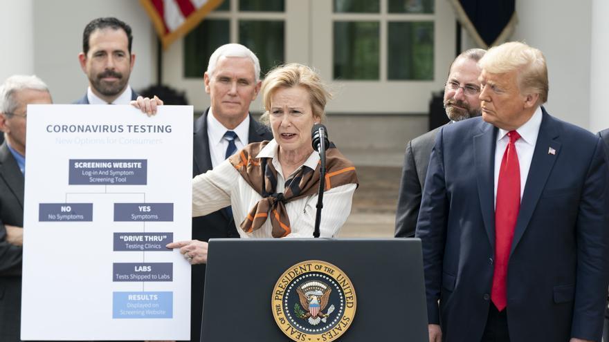 Donald Trump en la rueda de prensa de comité del coronavirus de la Casa Blanca el 13 de marzo.