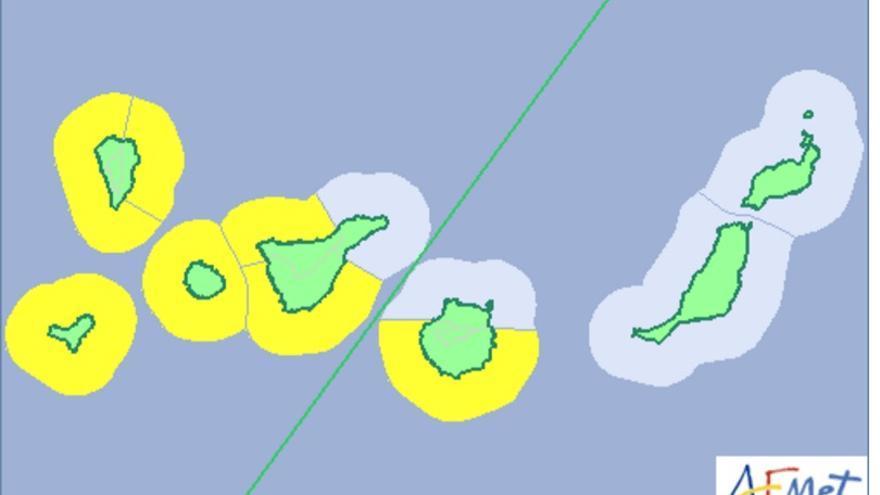 Mapa de la Aemet del aviso de riesgo por fenómenos costeros para este jueves.