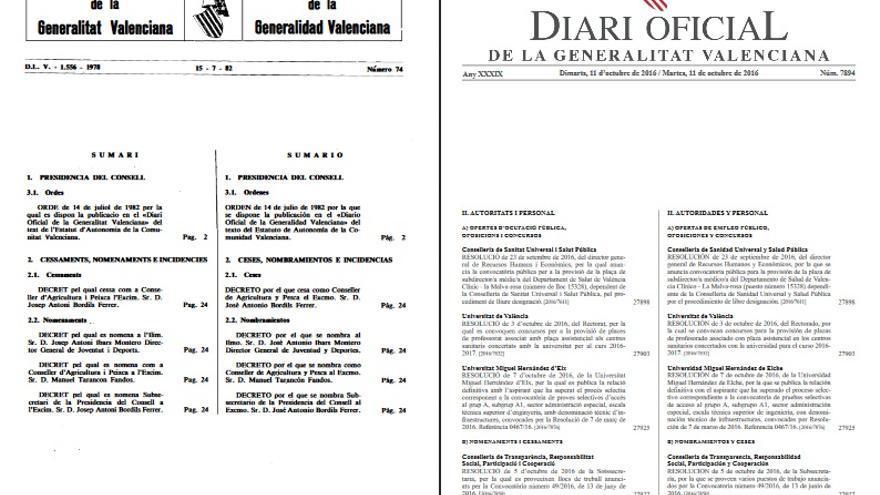 Imágenes de dos publicaciones: la histórica de 1982 y la recuperada ya en 2016