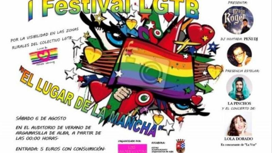 Cartel del I Festival LGTB 'El Lugar de la Mancha' de Argamasilla de Alba (Ciudad Real)