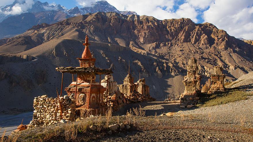 Oratorio tibetano en el Valle de Mustang, en Nepal. Jean Maria Hullot.