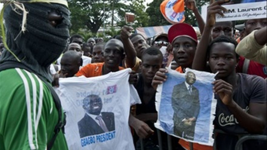 Partidarios de Gbagbo en las calles de Abiyán