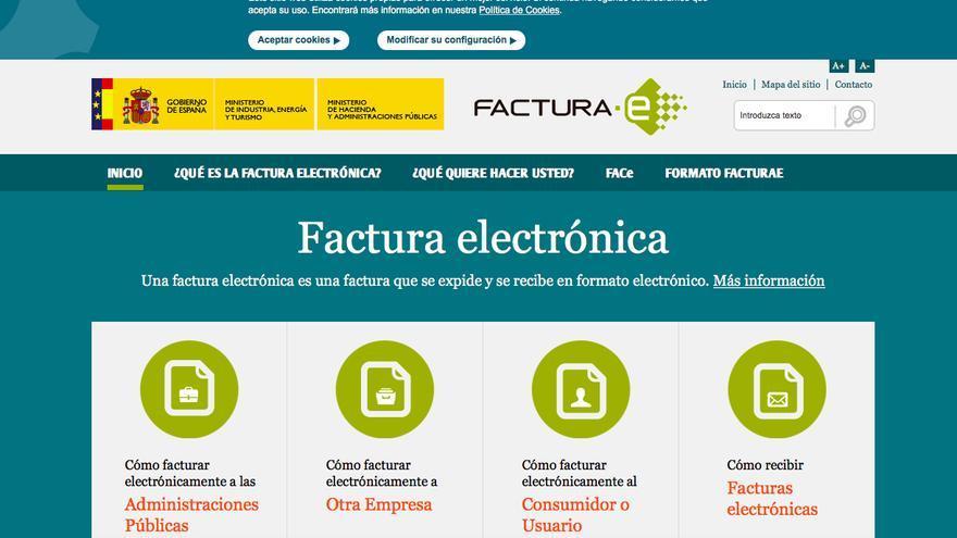 Página web oficial que explica cómo utilizar la factura electrónica