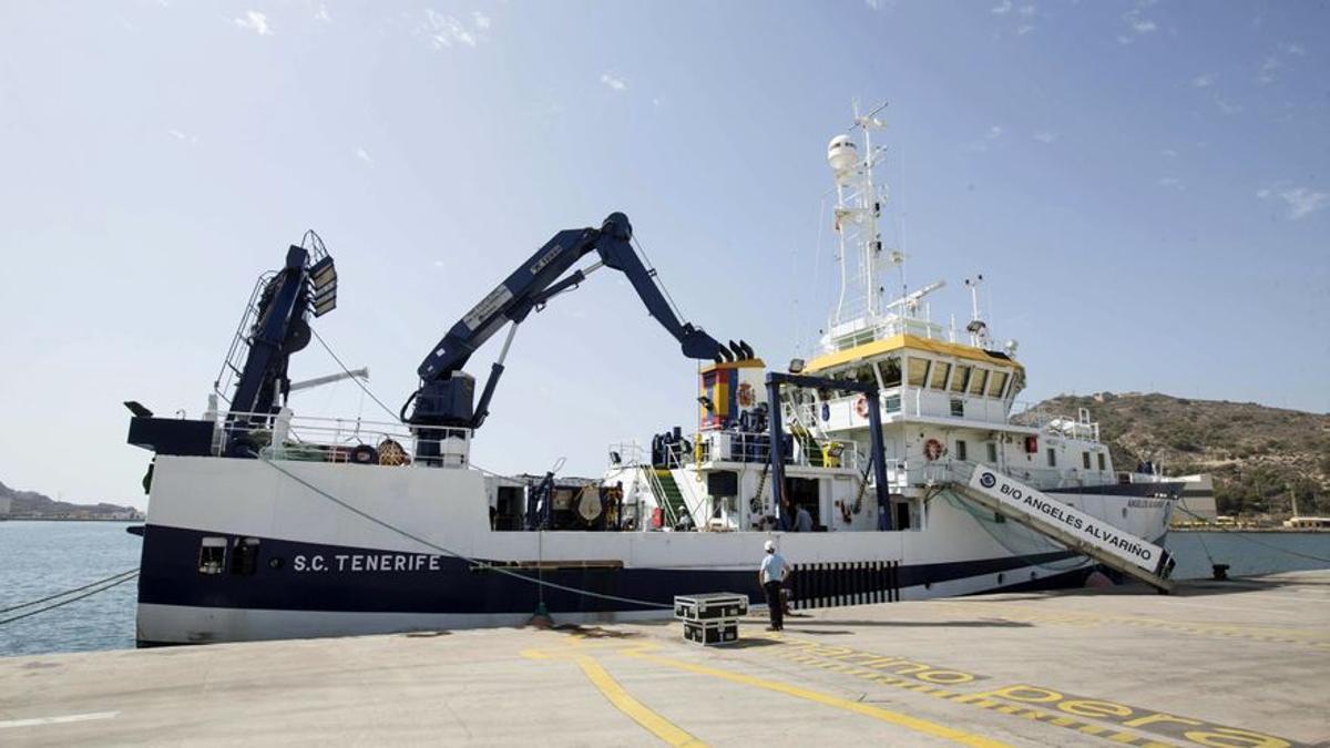 Imagen del buque Ángeles Alvariño se incorporará esta semana al operativo de búsqueda de las niñas desaparecidas en Tenerife
