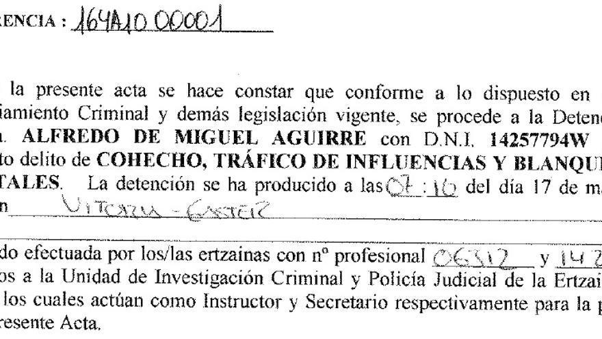 Acta de detención de De Miguel