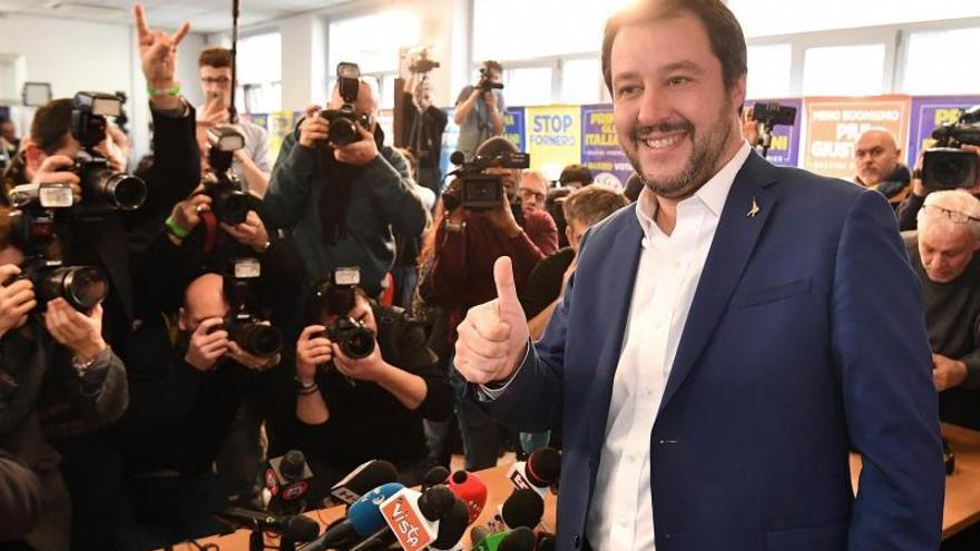 Matteo Salvini en la rueda de prensa del lunes tras las elecciones de Italia.