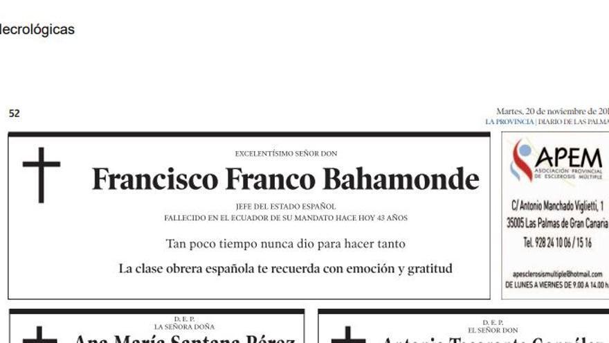 La esquela de Francisco Franco, publicada en la edición del 20 de noviembre de 2018 del diario 'La Provincia' de las Palmas