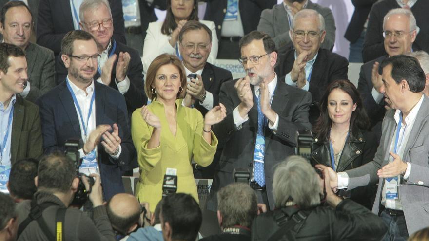 Pablo Casado, Javier Maroto, María Dolores de Cospedal, Mariano Rajoy, Andrea Levy y Fernando Maíllo en el 18 Congreso Nacional del PP