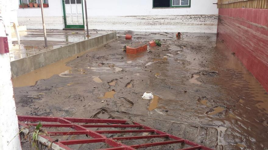 En la imagen se puede apreciar la altura que alcanzo en el patio de la casa el agua mezclada de lodo.