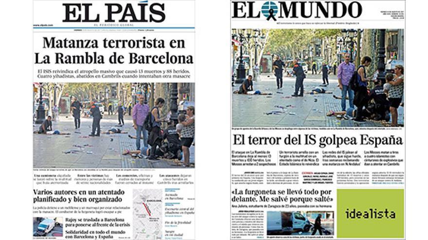 Portadas de El País y El Mundo