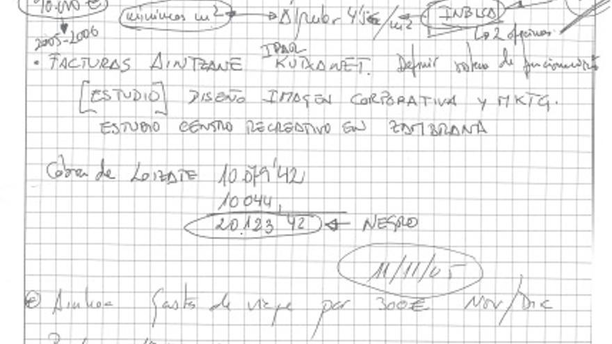 """Extracto del cuaderno de Koldo Ochandiano con la nota """"obra 4% Kataia"""""""