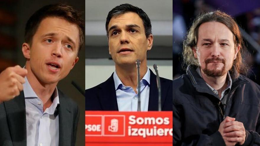 Íñigo Errejón, Pedro Sánchez y Pablo Iglesias