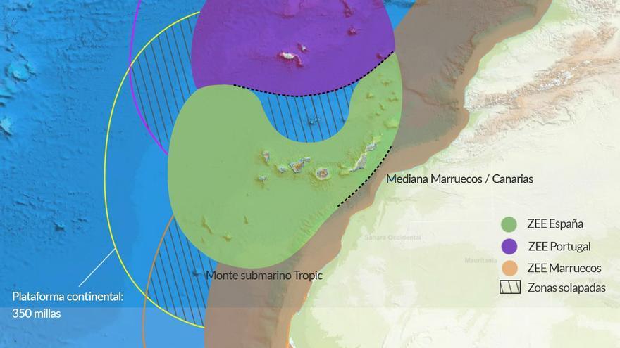 Recreación ficticia de las aguas territoriales de España, Portugal y Marruecos elaborado por Canarias Ahora.