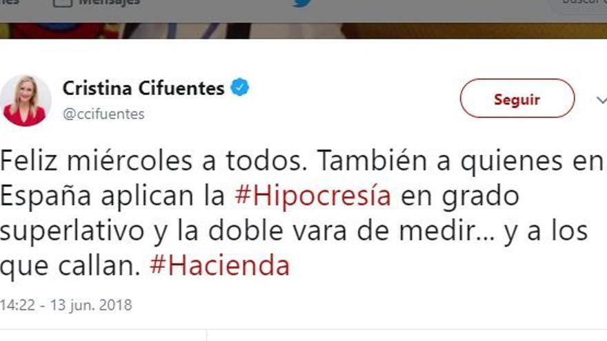 El tuit de Cifuentes sobre Màxim Huerta