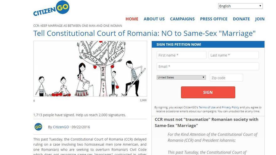 Captura de la petición lanzada por CitizenGo, rama internacional de la organización española HazteOír, a partir del Caso Coman