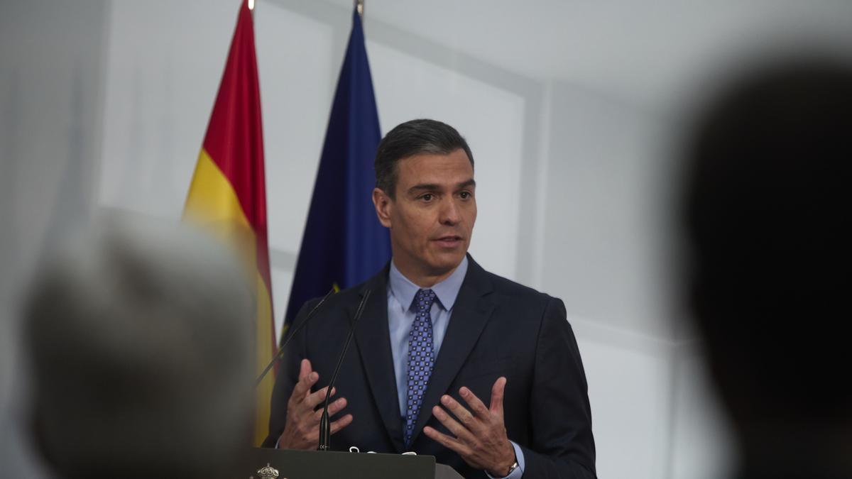 Pedro Sánchez en un acto en Moncloa.