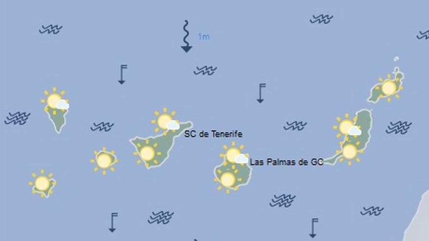 Mapa de la previsión meteorológica de Canarias para el 18 de julio