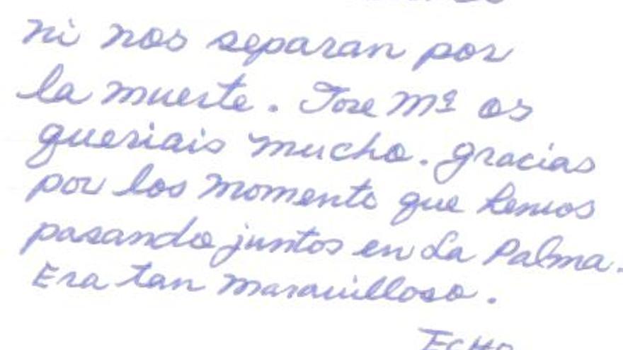 Carta de San Mao dirigida a unos amigos.