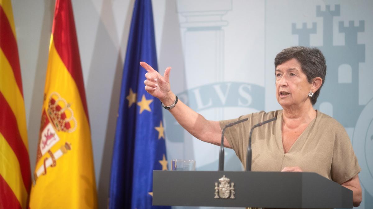 La delegada del Gobierno en Cataluña, Teresa Cunillera, durante la rueda de prensa.