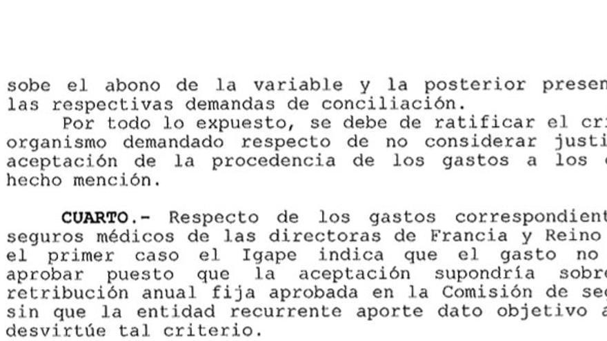 Fragmento de la sentencia que condena a la patronal gallega a pagar a la Xunta gastos injustificados
