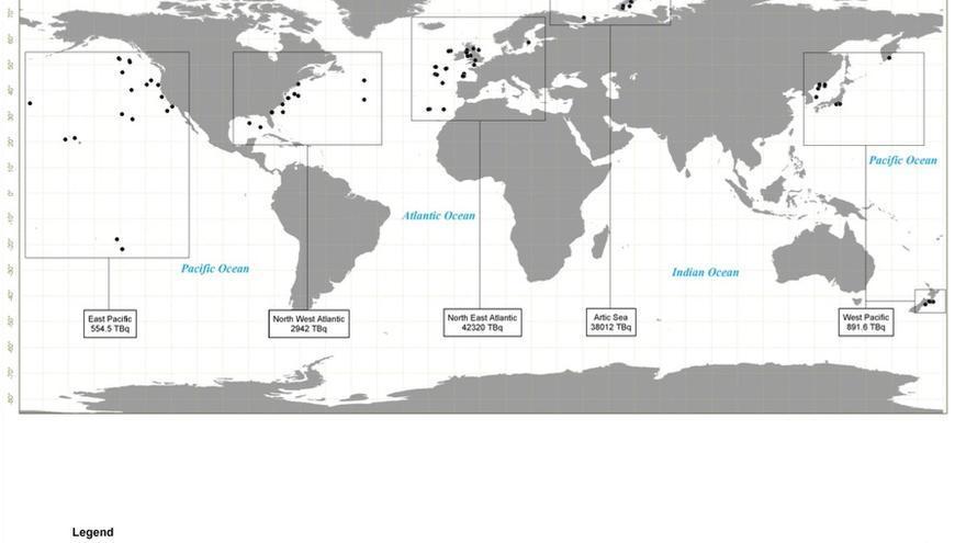 Vertidos radiactivos en el mundo catalogados por la OIEA