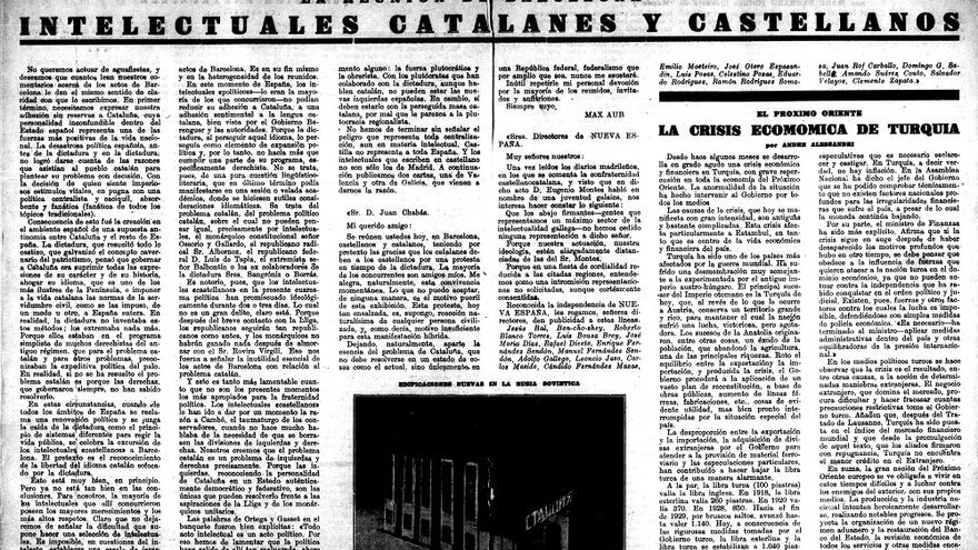 Article editorial i carta d'Aub a 'Nueva España'.