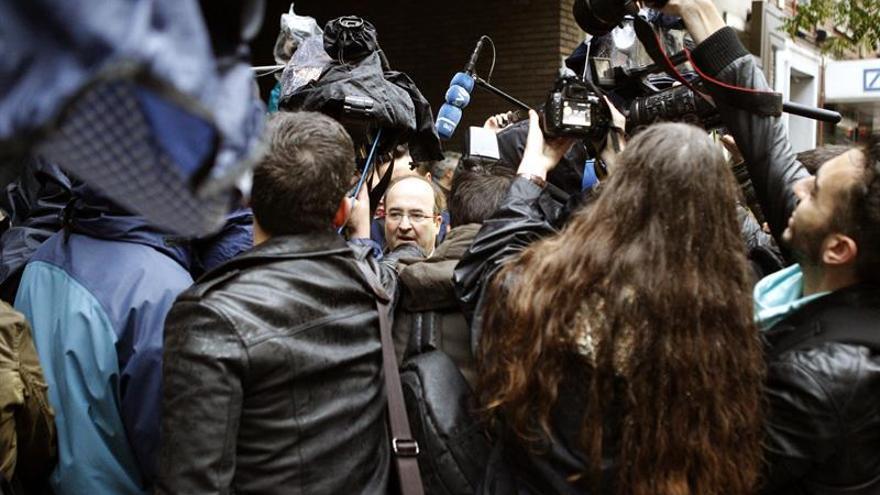 Miquel Iceta, a su llegada el domingo a la sede de Ferraz para la celebración del Comité Federal.