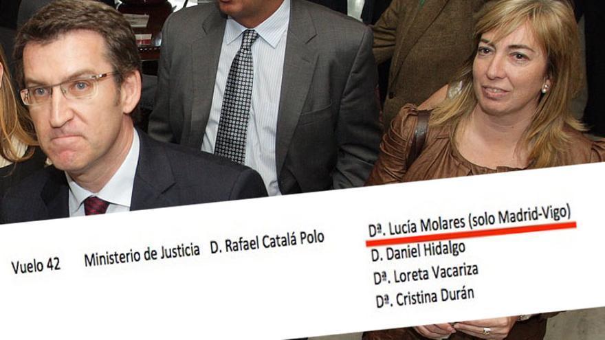Lucía Molares, responsable de la sociedad estatal de suelo, en un acto con Feijóo, y la información sobre su viaje Madrid-Vigo con el ministro de Justicia