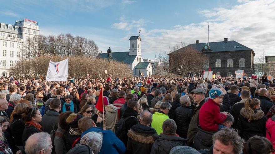 Protestas en Reikiavik en 2016.