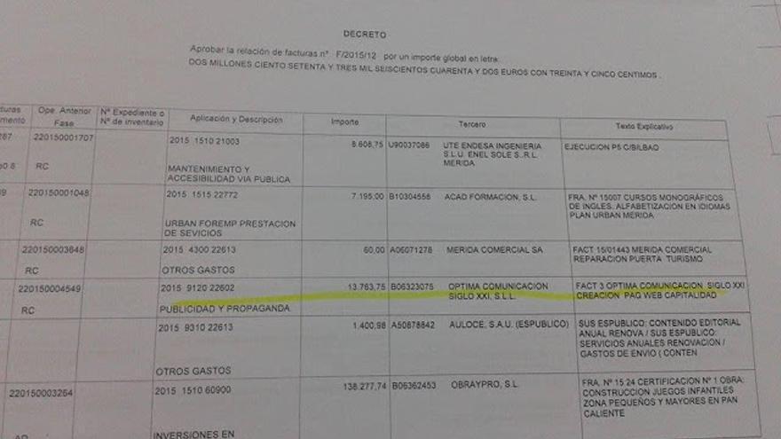 Copia de la factura de la página web creada por el gobierno popular