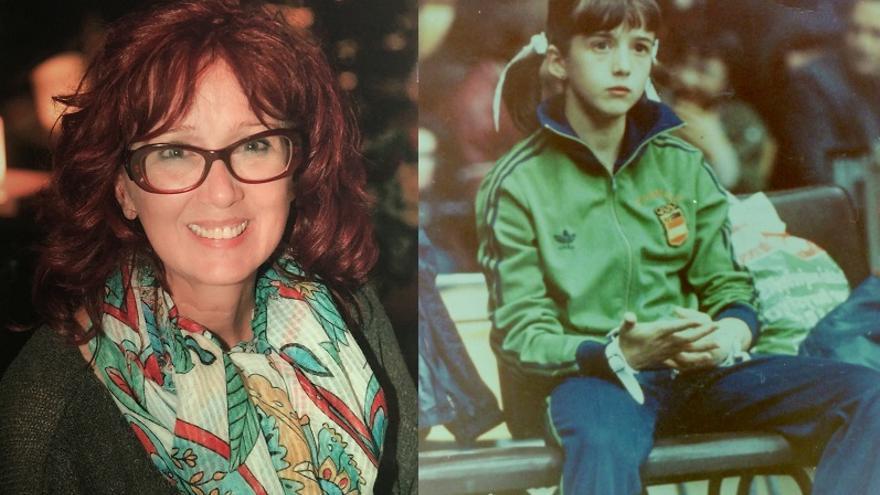 Gloria Viseras, en la actualidad y cuando competía. Sufrió las agresiones sexuales en esa época, entre los 12 y 15 años.