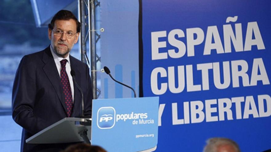 Mariano Rajoy durante un mítin en Cartagena