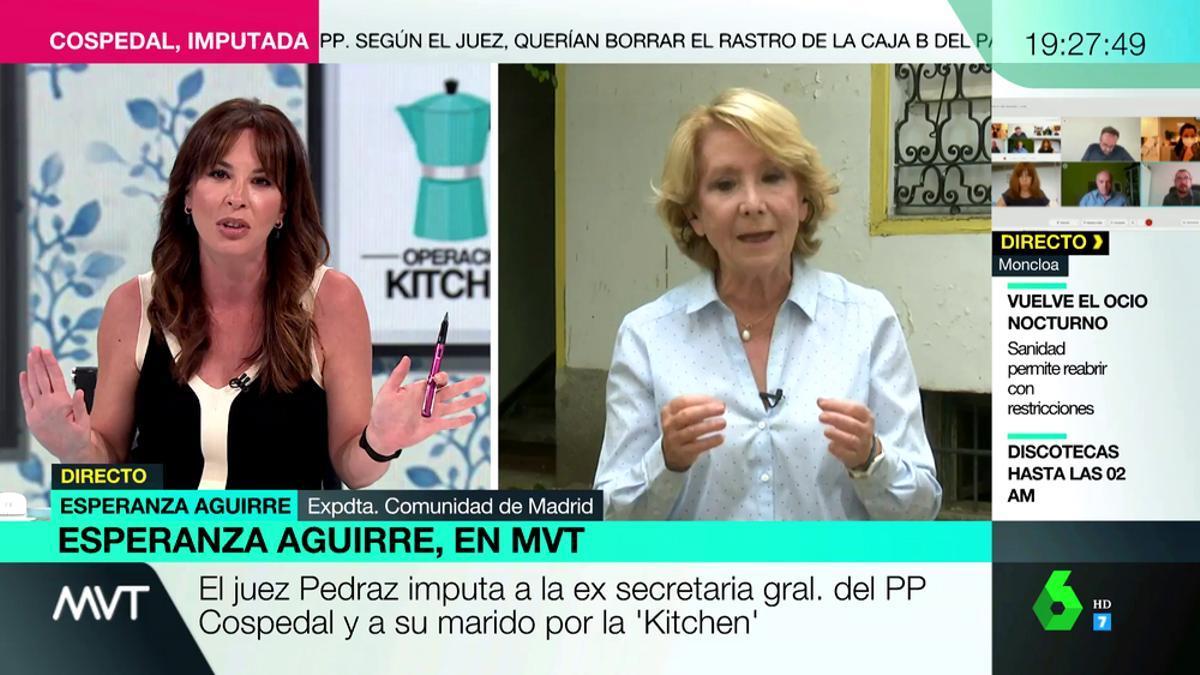 Mamen Mendizabal y Esperanza Aguirre, en 'Más vale tarde'